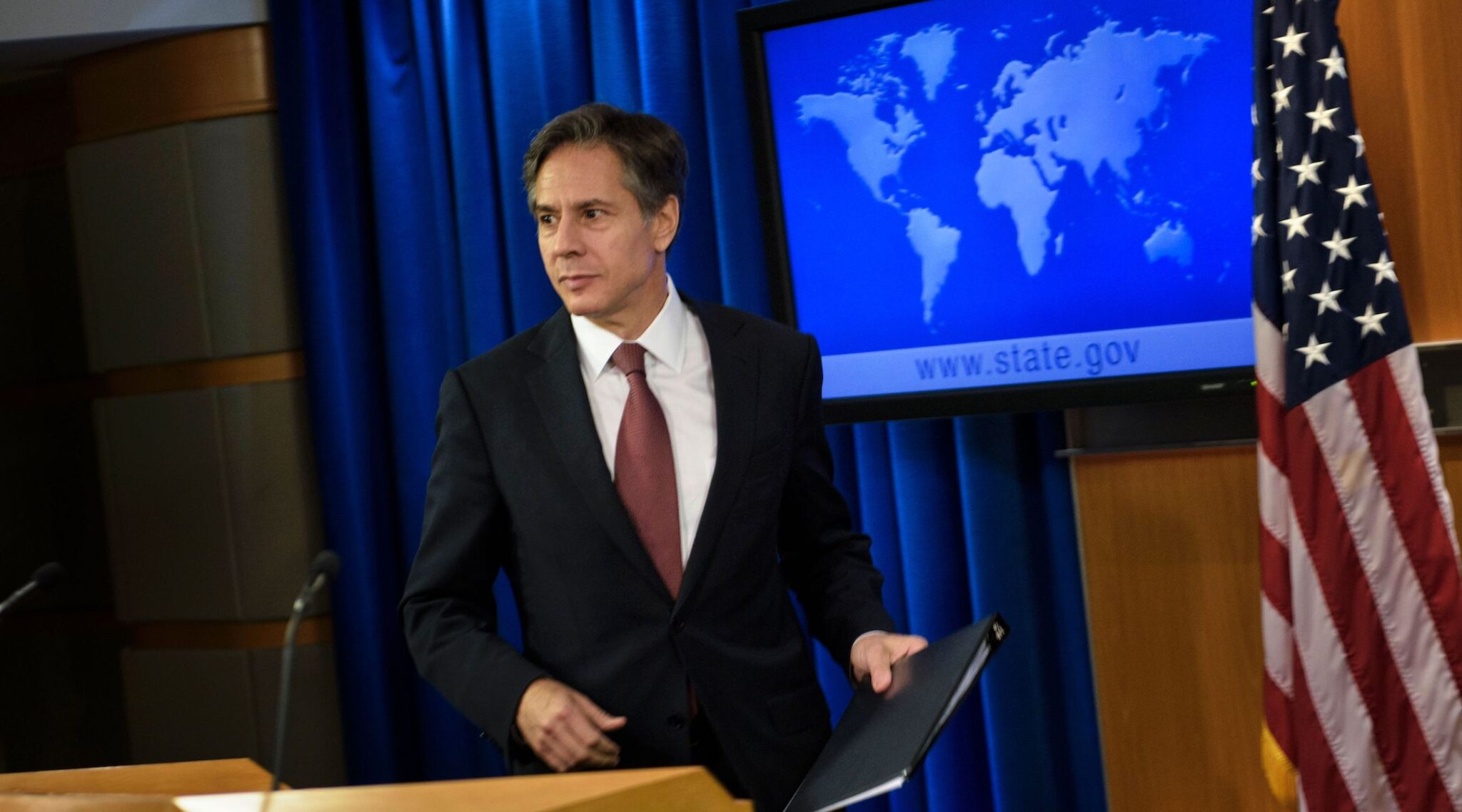 Tony Blinken, when he was deputy secretary of state, is seen at a news conference at the State Department, Aug. 10, 2016. (Photo/JTA-Brendan Smialowski-AFP via Getty Images)