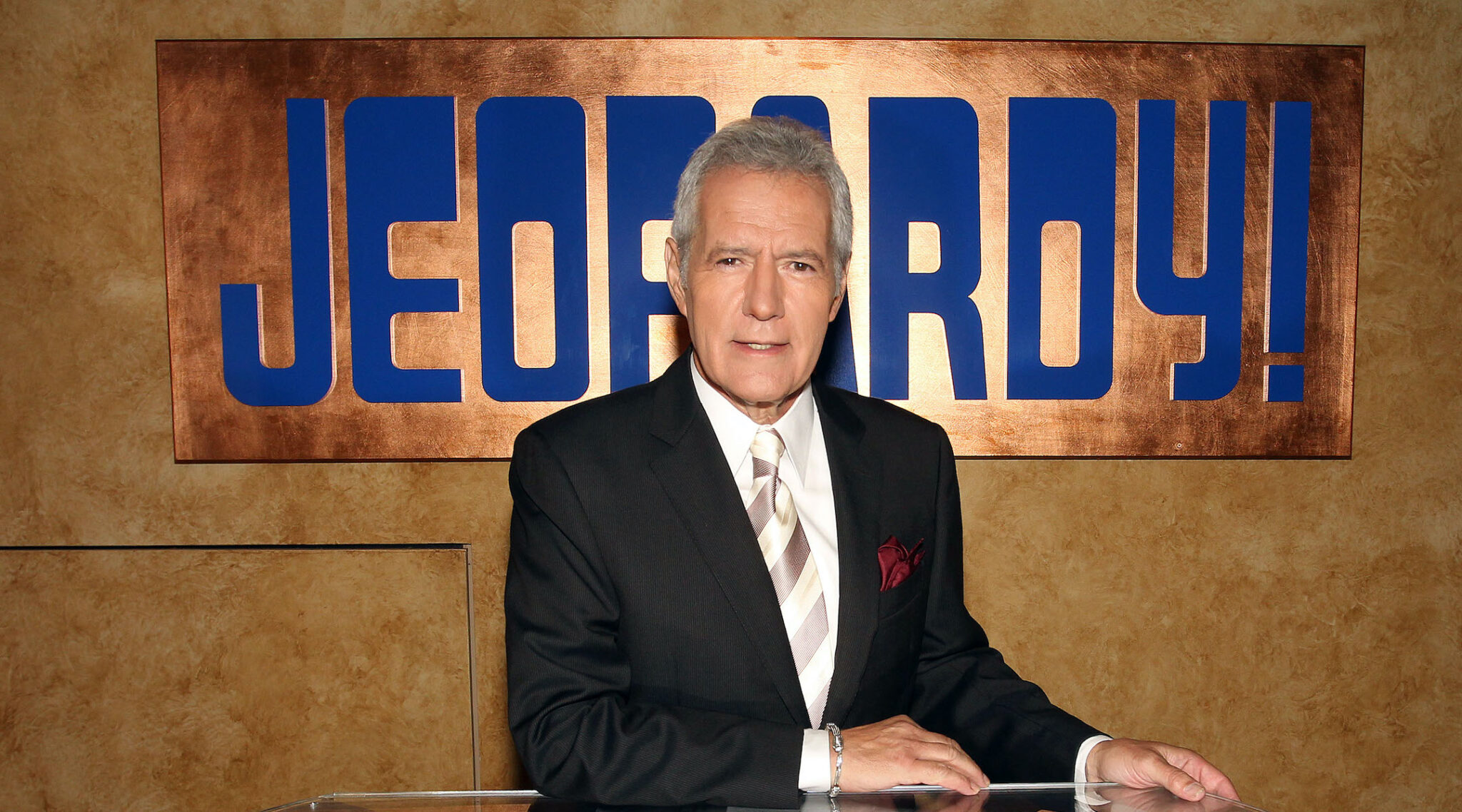 "Alex Trebek poses on set  for the premiere of the 28th season of ""Jeopardy!,"" Sept. 20, 2011. (Photo/JTA-Frederick M. Brown-Getty Images)"
