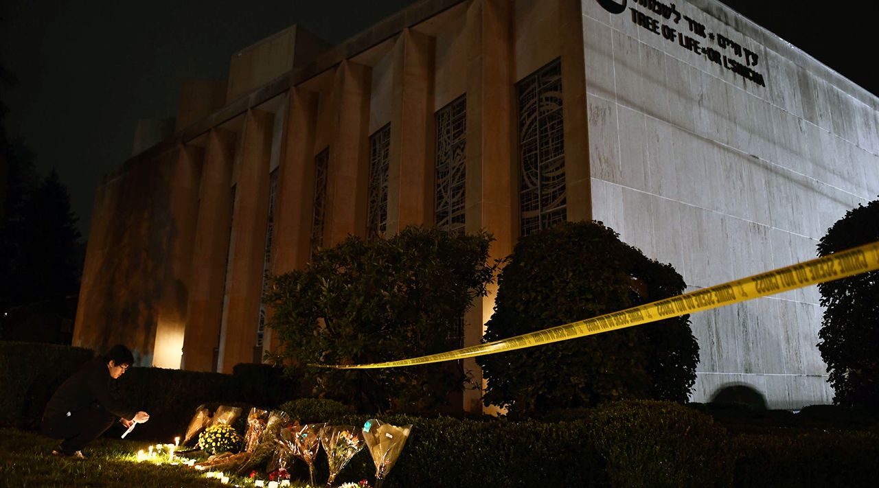 The 2018 antisemitic attack on the Tree of Life*Or L'Simcha synagogue, pictured above, has become an inspiration to white supremacist groups. (Photo/JTA-Brendan Smialowski-AFP-Getty Images)