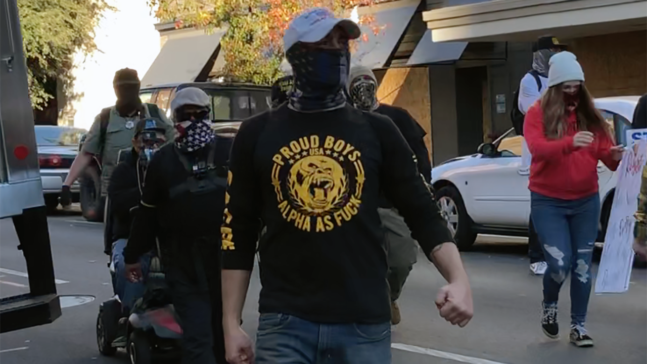 Members of the Proud Boys marching in Sacramento, Nov. 28, 2020. (Photo/Gabe Stutman)