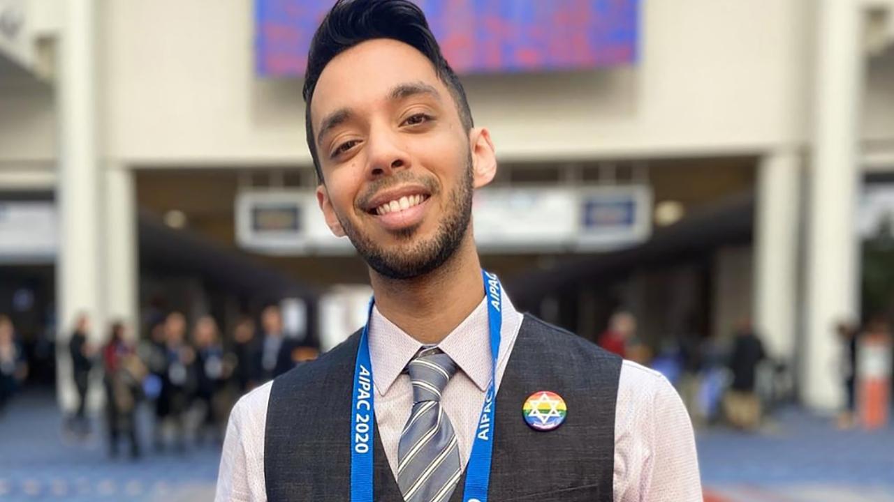 Elior Amar, Jewish Agency Israel Fellow at UC Santa Cruz Hillel, at the 2020 AIPAC conference. (Photo/Courtesy Amar)