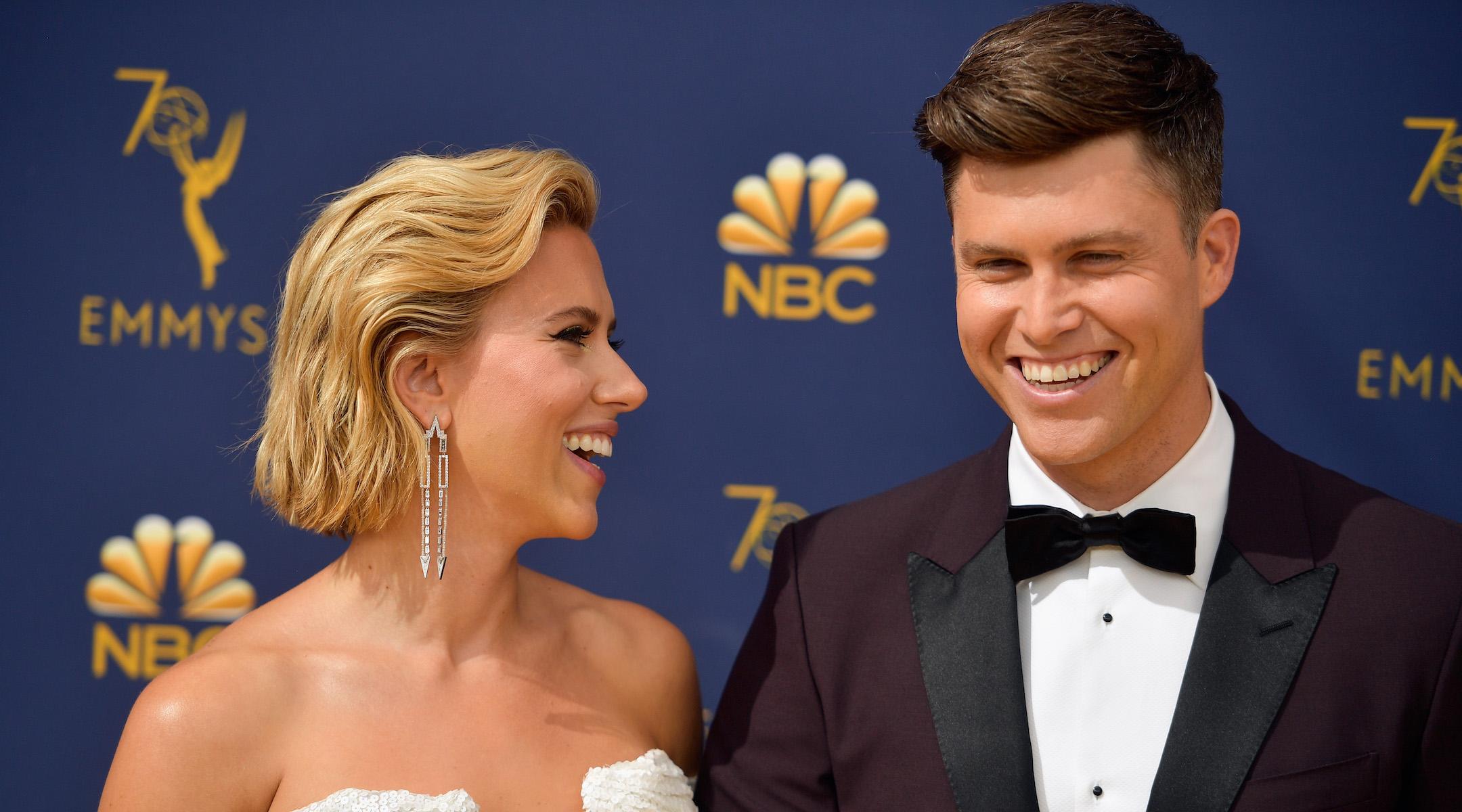 Scarlett Johansson and Colin Jost at the Emmy Awards in Los Angeles, Sept. 17, 2018. (Photo/JTA-Matt Winkelmeyer-Getty Images)
