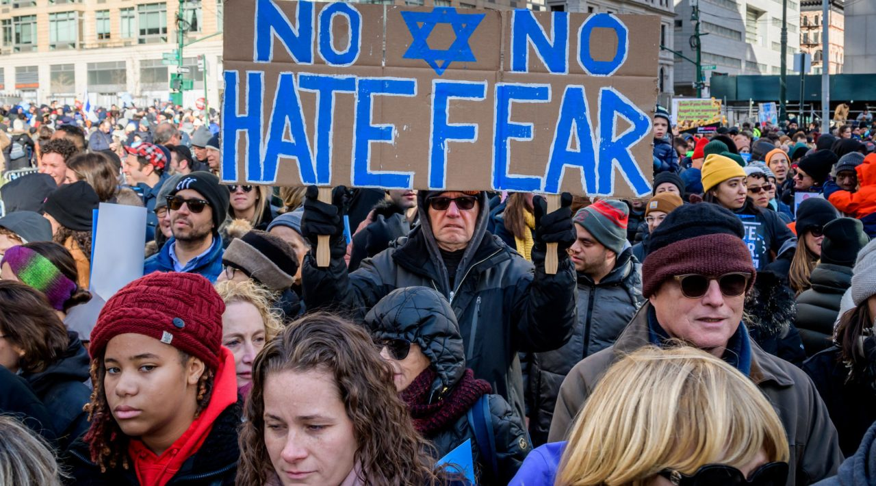 """Thousands of New Yorkers of all backgrounds convened at the """"No Hate. No Fear"""" solidarity march against antisemitism in January 2020. (Photo/JTA-Erik McGregor-LightRocket via Getty Images)"""