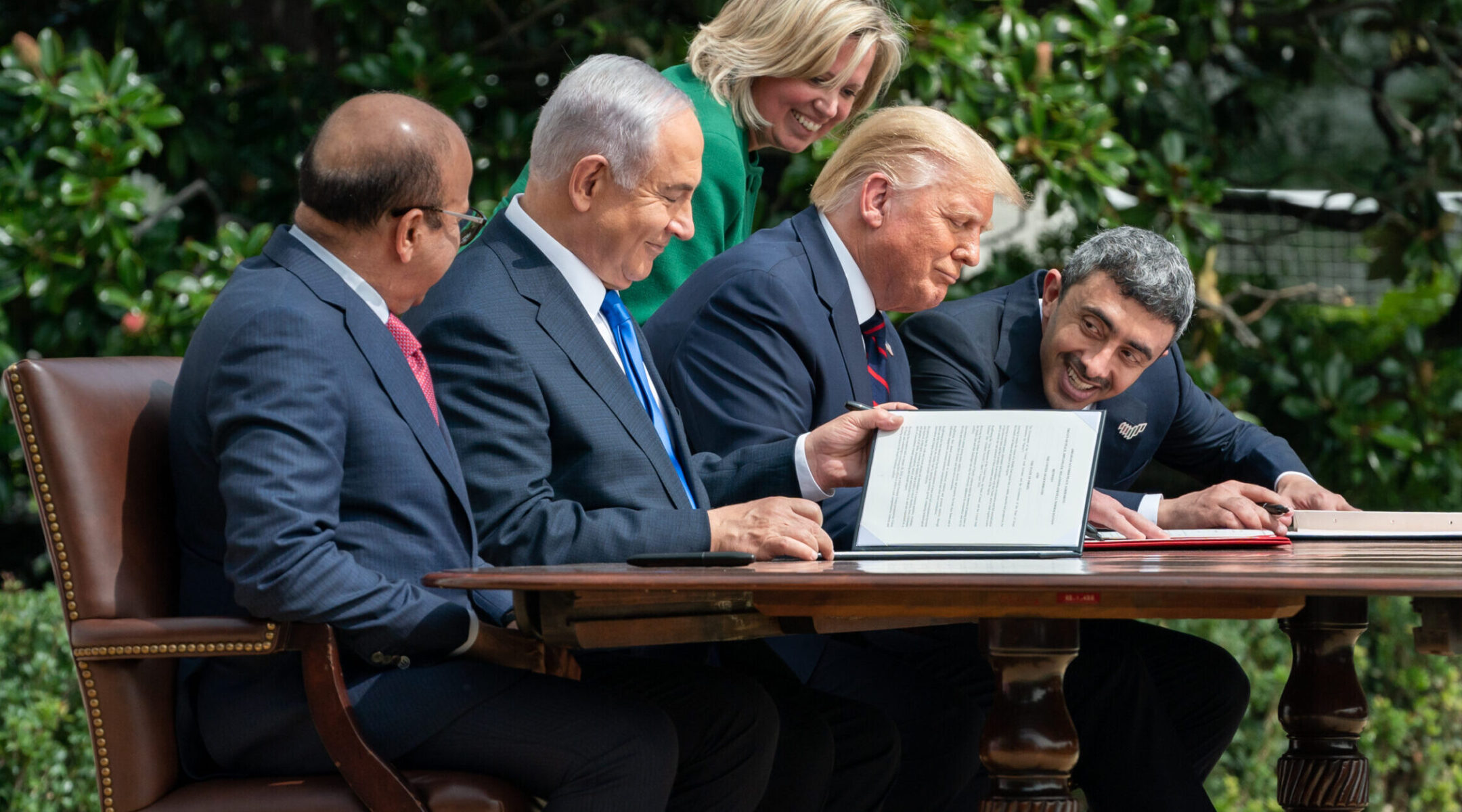 The signing ceremony for the agreements on normalization of relations reached by Israel, the United Arab Emirates and Bahrain at the White House, Sept. 15, 2020. (Photo/JTA-The White House-Andrea Hanks-Anadolu Agency via Getty Images)
