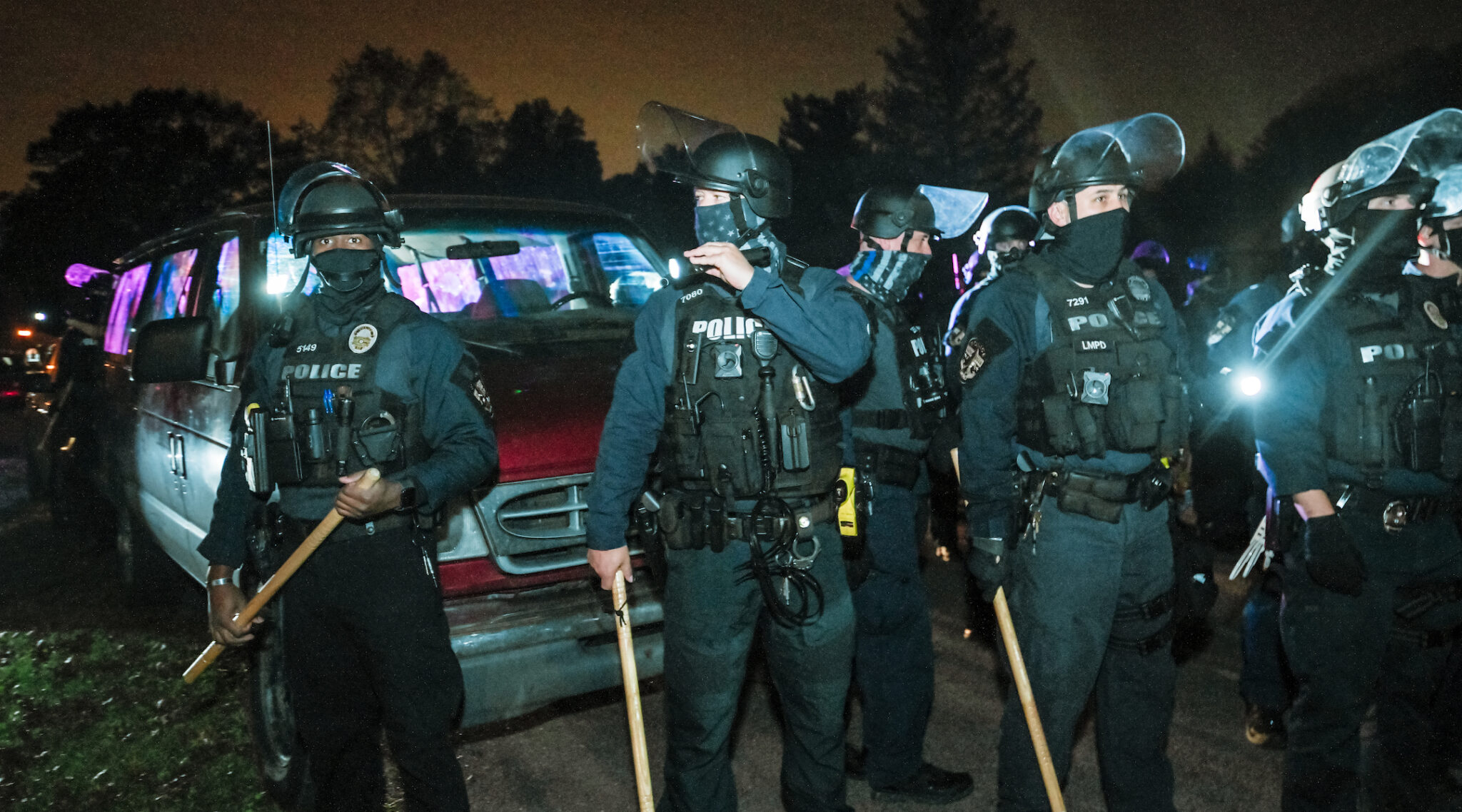 Police stationed in front of Kentucky Attorney General Daniel Cameron's home in Louisville, Oct. 24, 2020. (Photo/JTA-Jon Cherry-Getty Images)