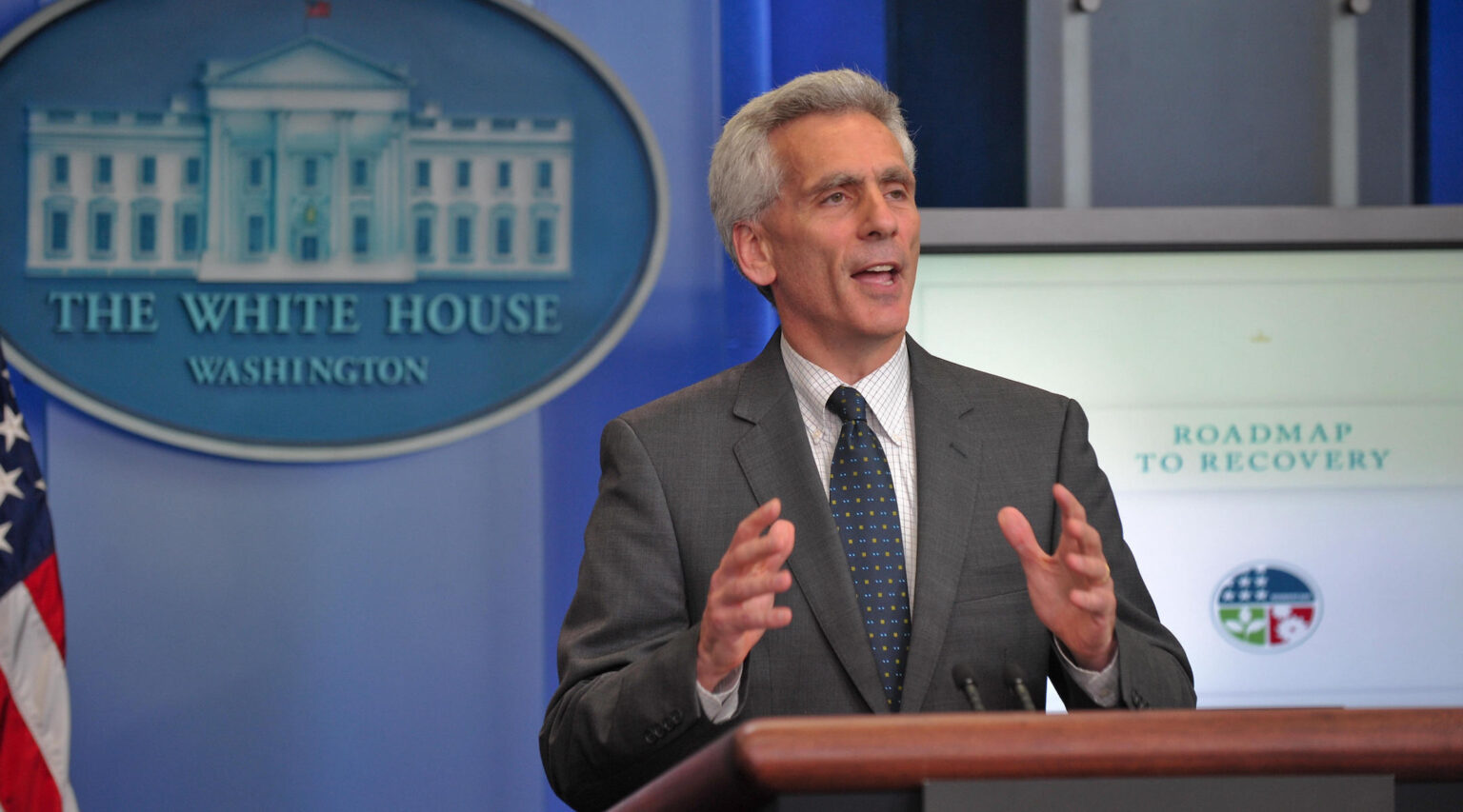 Jared Bernstein shown at a White House press briefing as Joe Biden's chief economic adviser, June 8, 2009. (Photo/JTA-Nicholas Kamm-AFP via Getty Images)