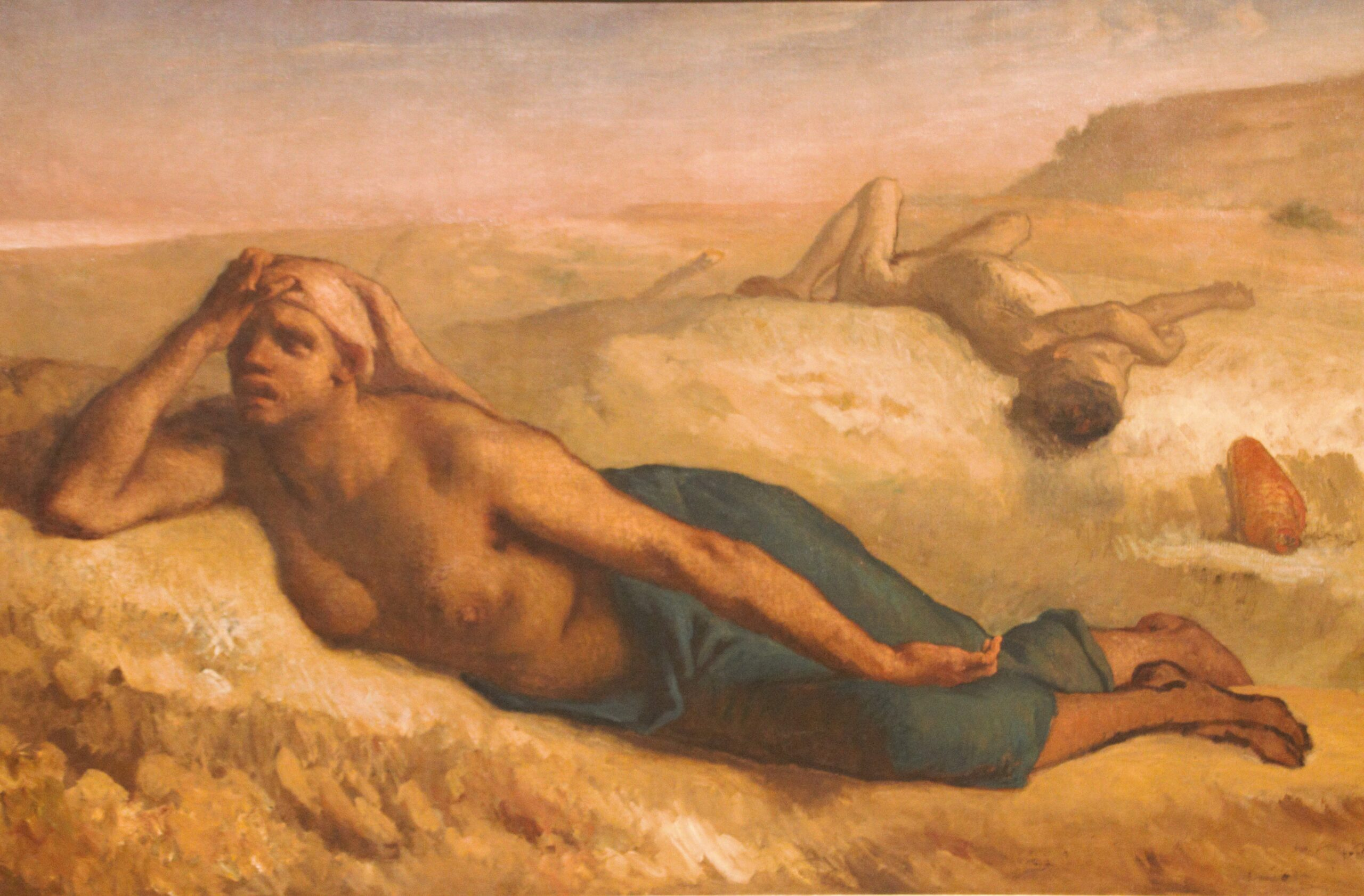 Jean-François Millet's unfinished painting of Hagar and Ishmael, 1849.