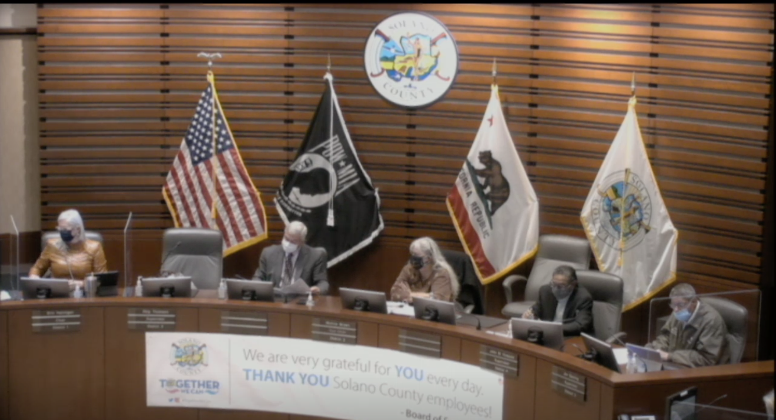 This Solano County supervisors meeting on Nov. 17 was disrupted at the beginning by rowdy anti-maskers who compared pandemic safety precautions to the Nazi regime. (Screenshot from livestream)