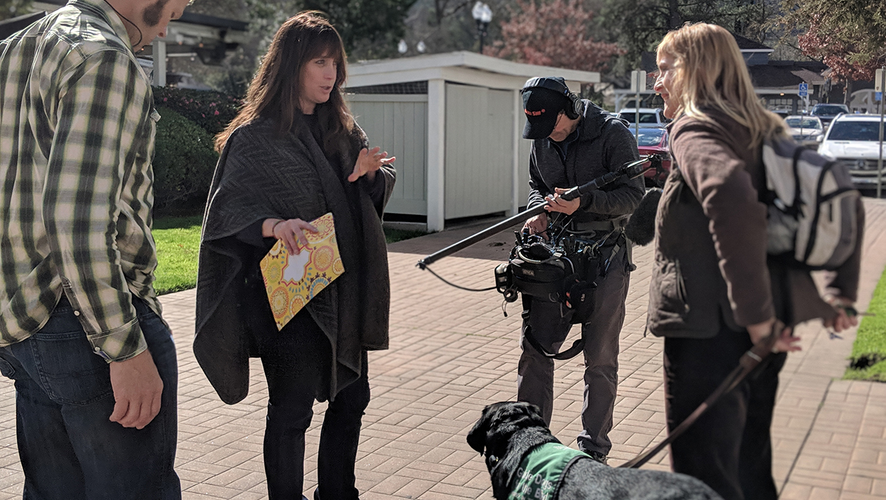 "Dana Nachman (center) during the filming of her 2018 documentary ""Pick of the Litter."" (Photo/Courtesy Nachman)"