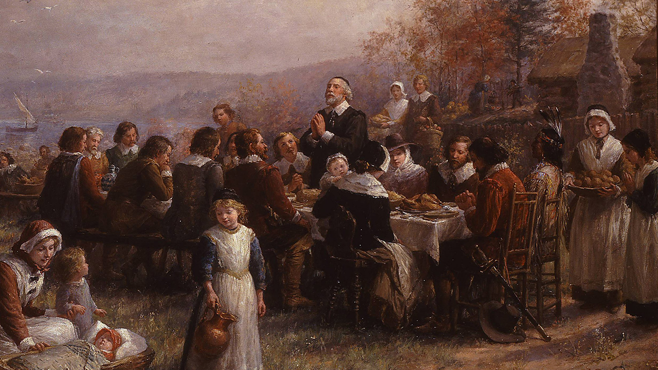 """Thanksgiving at Plymouth"" by Jennie Augusta Brownscombe, 1925."