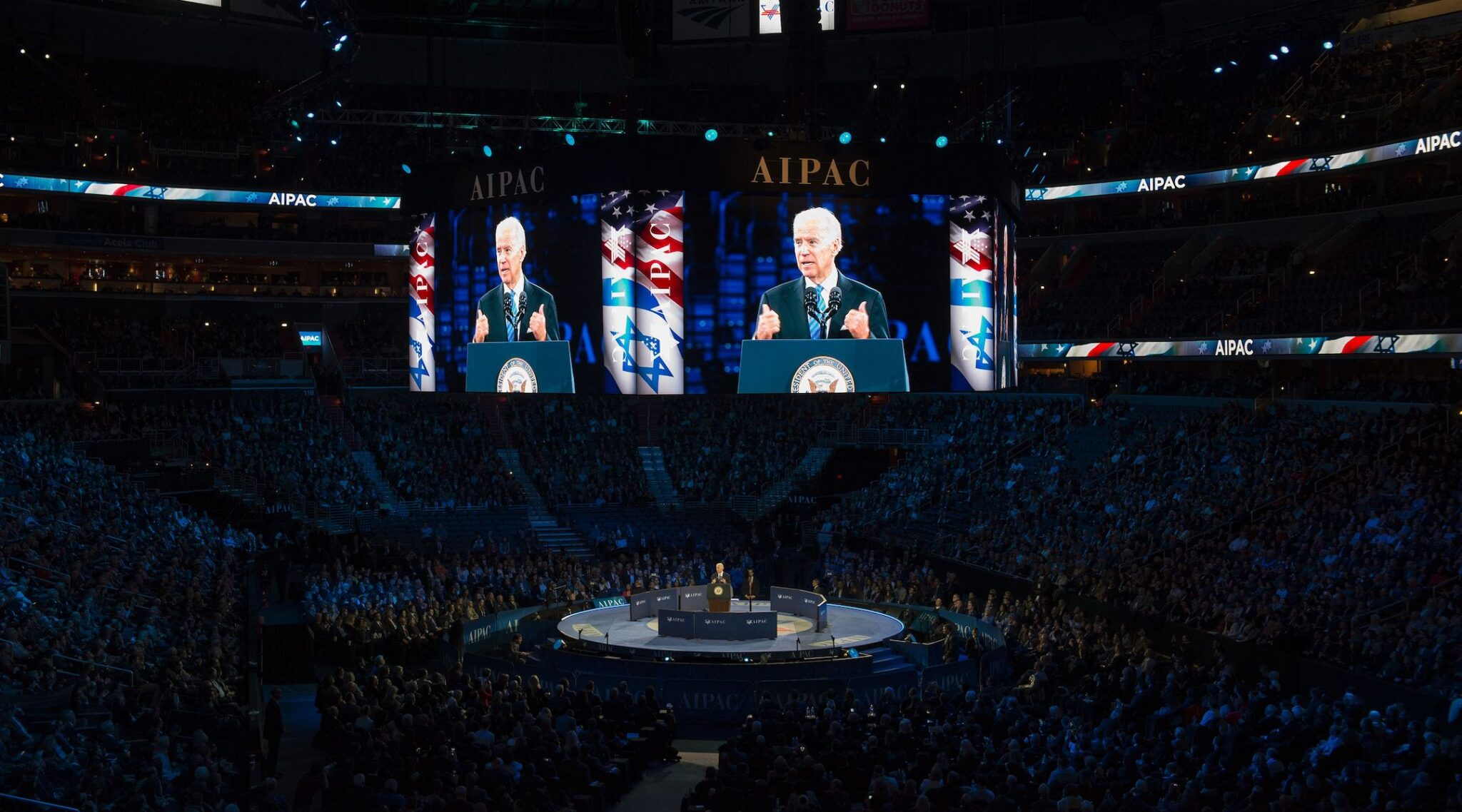 Joe Biden, then vice president, speaks at the AIPAC 2016 Policy Conference on March 20, 2016. (Photo/JTA-Molly Riley-AFP via Getty Images)