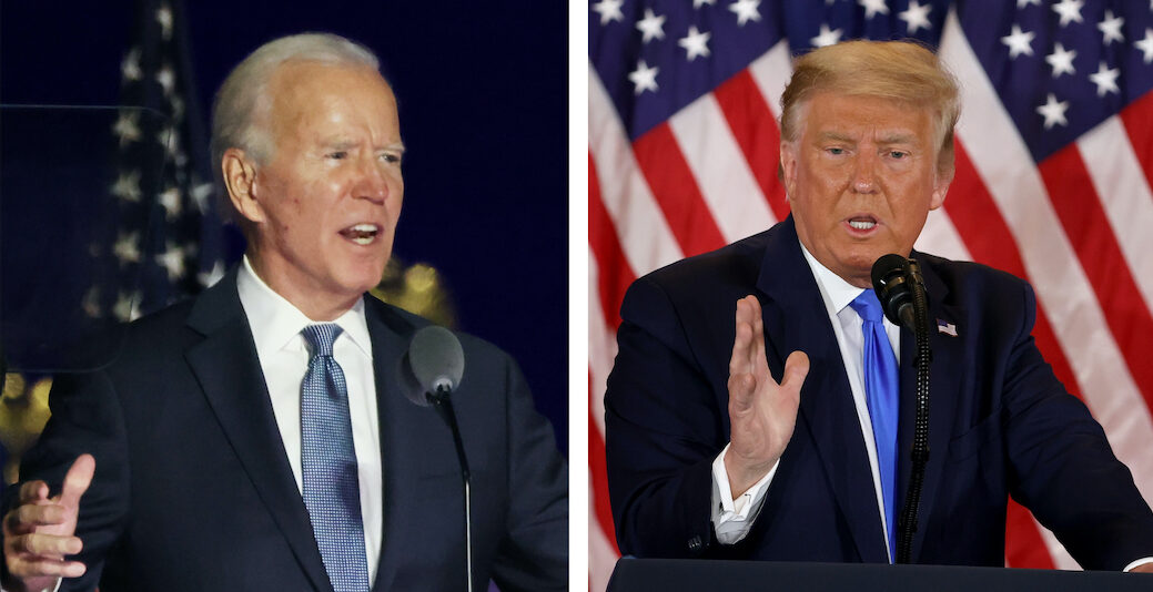 Joe Biden and Donald Trump commented on the vote results in the early hours of Nov. 4, 2020, in Delaware and the White House respectively. (Photo/JTA-Getty Images)