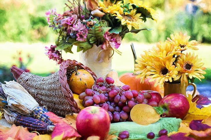 A Thanksgiving cornucopia with fruit, gourds, etc.