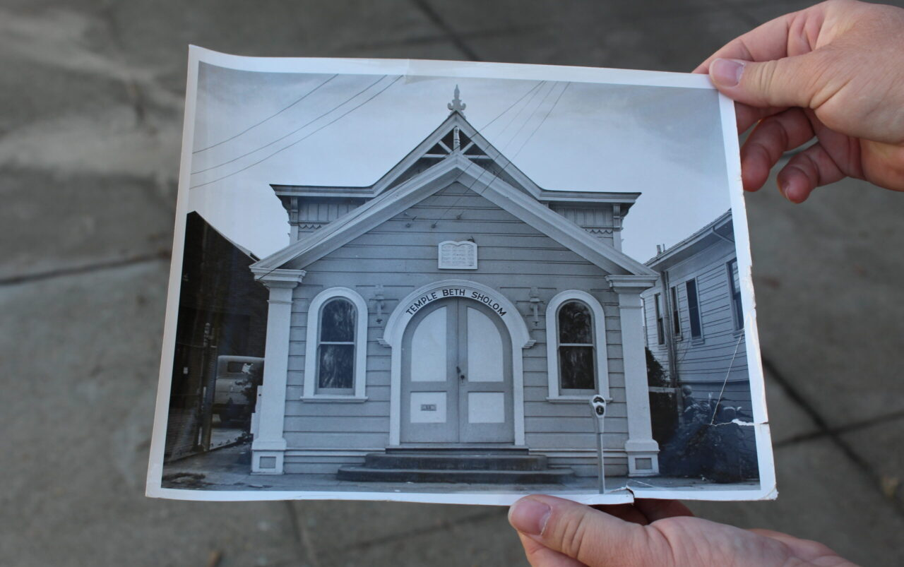 """The """"Little Shul,"""" located behind the main building of Temple Beth Sholom in San Leandro, seen here ca. 1940, is one of many Jewish treasures travelers can visit on a trip to Gold Country. (Photo/Gabriel Greschler)"""