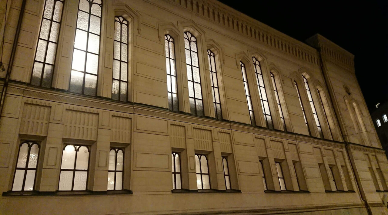 All the lights are on at the Great Synagogue of Stockholm, Nov. 9, 2020. (Photo/JTA-Ute Steyer)