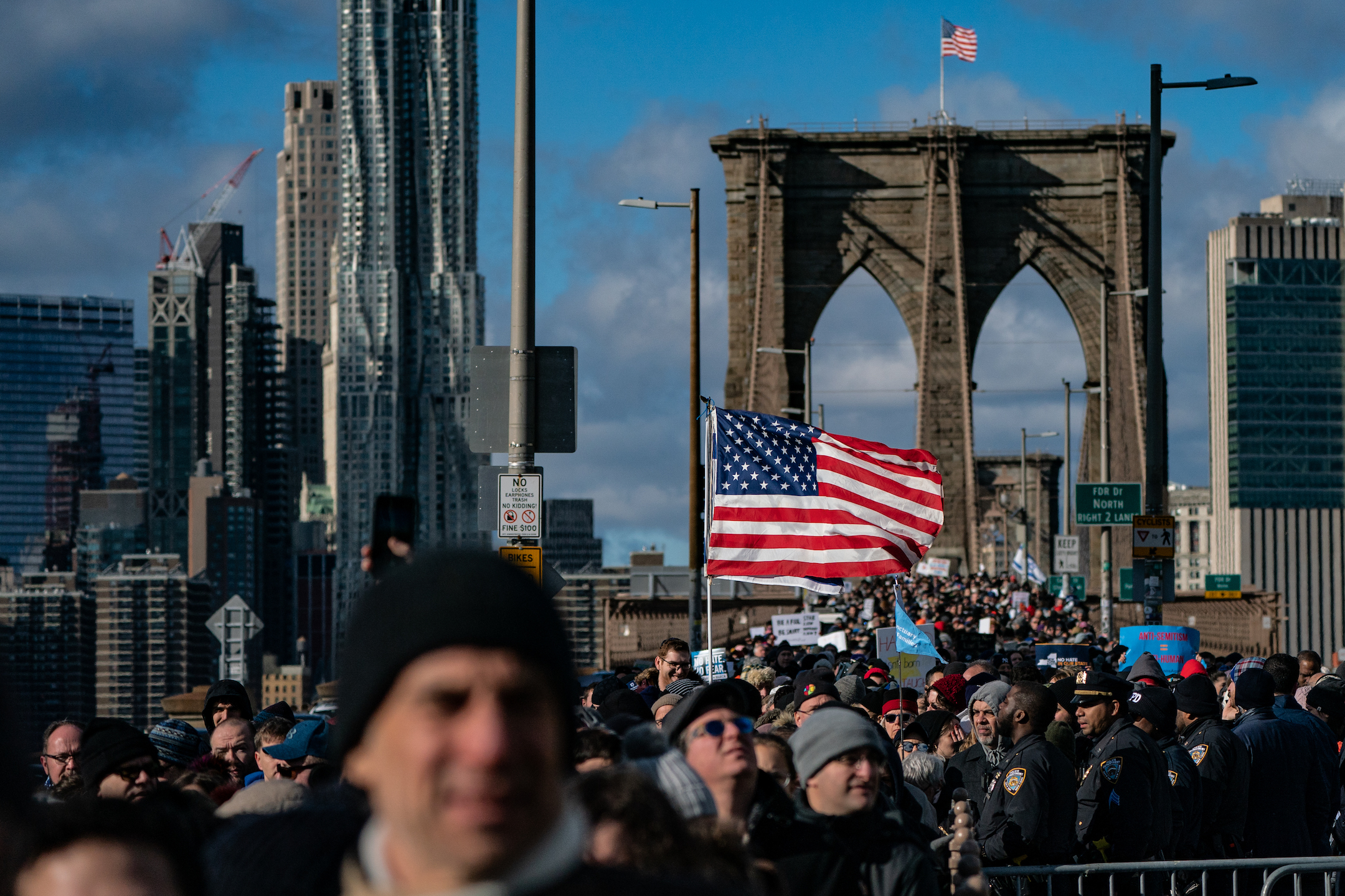 Thousands marched across the Brooklyn Bridge to protest antisemitism on January 5, 2020.