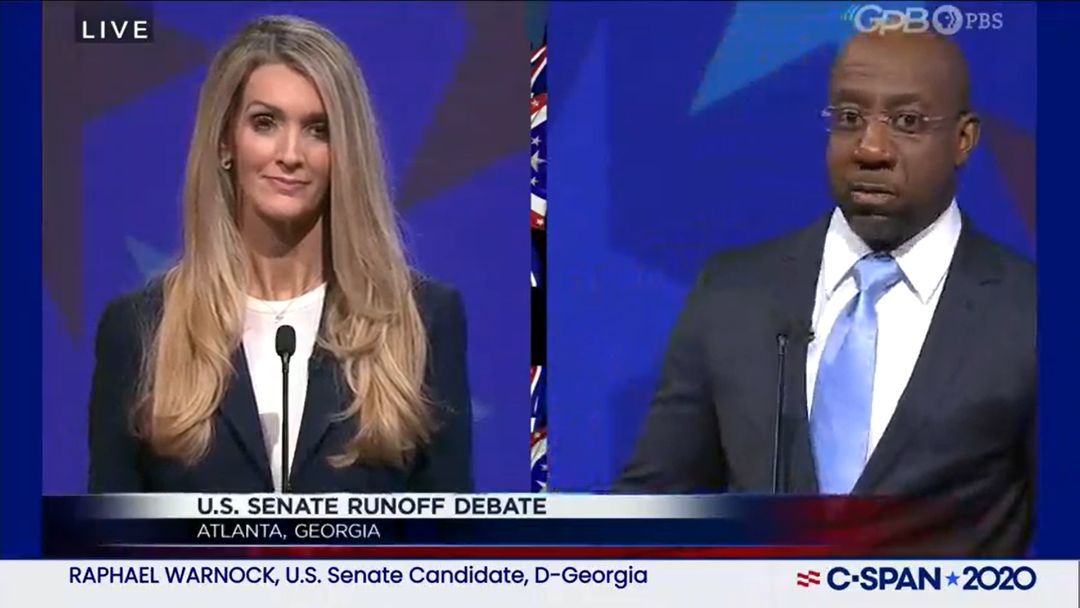 Kelly Loeffler and Rev. Raphael Warnock met in a debate in Atlanta, Dec. 6 2020. (Screenshot from C-Span)