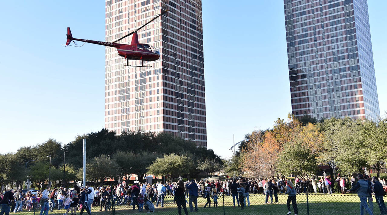Chabad in Houston usually drops pieces of gelt from a helicopter, but social distancing derailed that event this year. (Photo/JTA-Chabad of Uptown)