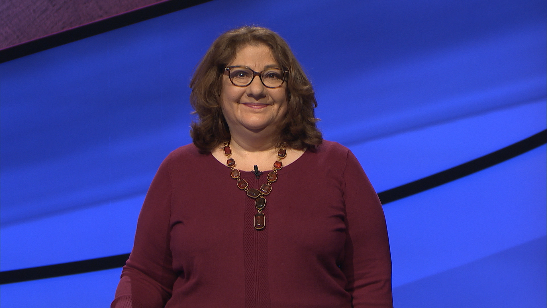 "Jennifer Rosenberg of Walnut Creek on the set of ""Jeopardy!"" Her episode aired on Nov. 24, 2020. (Photo/Courtesy Jeopardy Productions)"