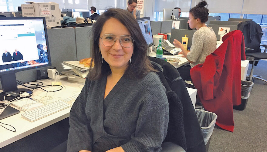 Bari Weiss at her old desk at the New York Times in 2019. (Photo/JTA-Josefin Dolsten)