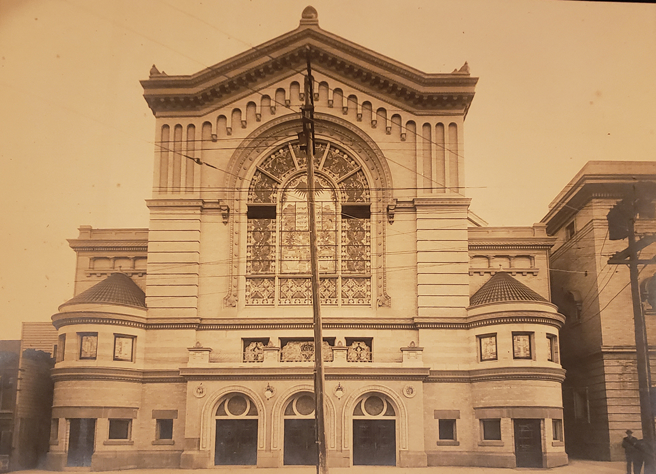 Congregation Beth Israel's second building, on Geary Street, was completed in 1908. It was almost completed in 1906, but was destroyed by the earthquake and had to be rebuilt. In 1969, Beth Israel merged with Temple Judea to form Congregation Beth Israel Judea. Decades later, BIJ is merging with yet another synagogue, Congregation B'nai Emunah. (Photo/Courtesy Congregation Beth Israel Judea)