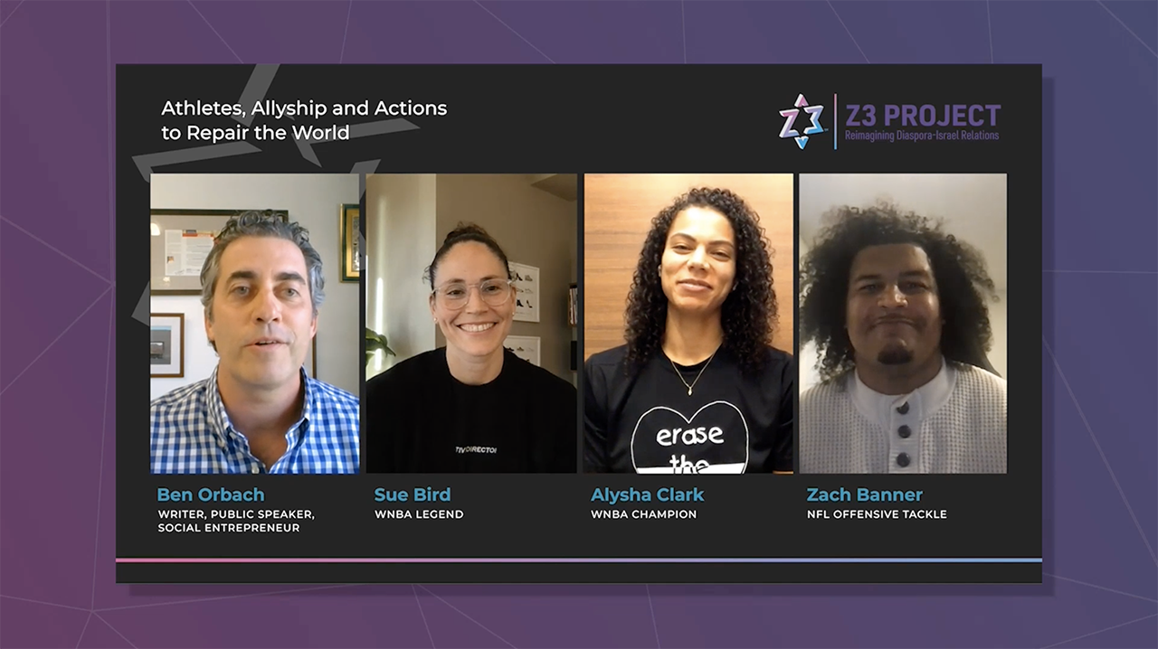 "Screenshot from the Z3 panel ""Athletes, Allyship and Actions to Repair the World"""
