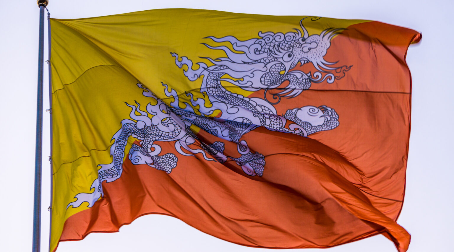 The flag of the Kingdom of Bhutan. (Photo/Wikimedia Commons-Caleb See)
