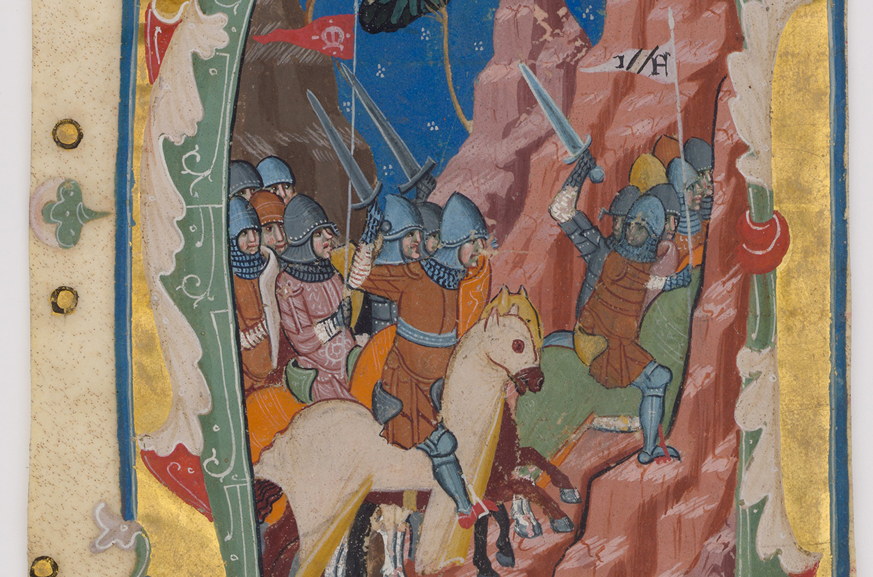 The Maccabees depicted in a page from a 14th-century Italian illuminated manuscript.