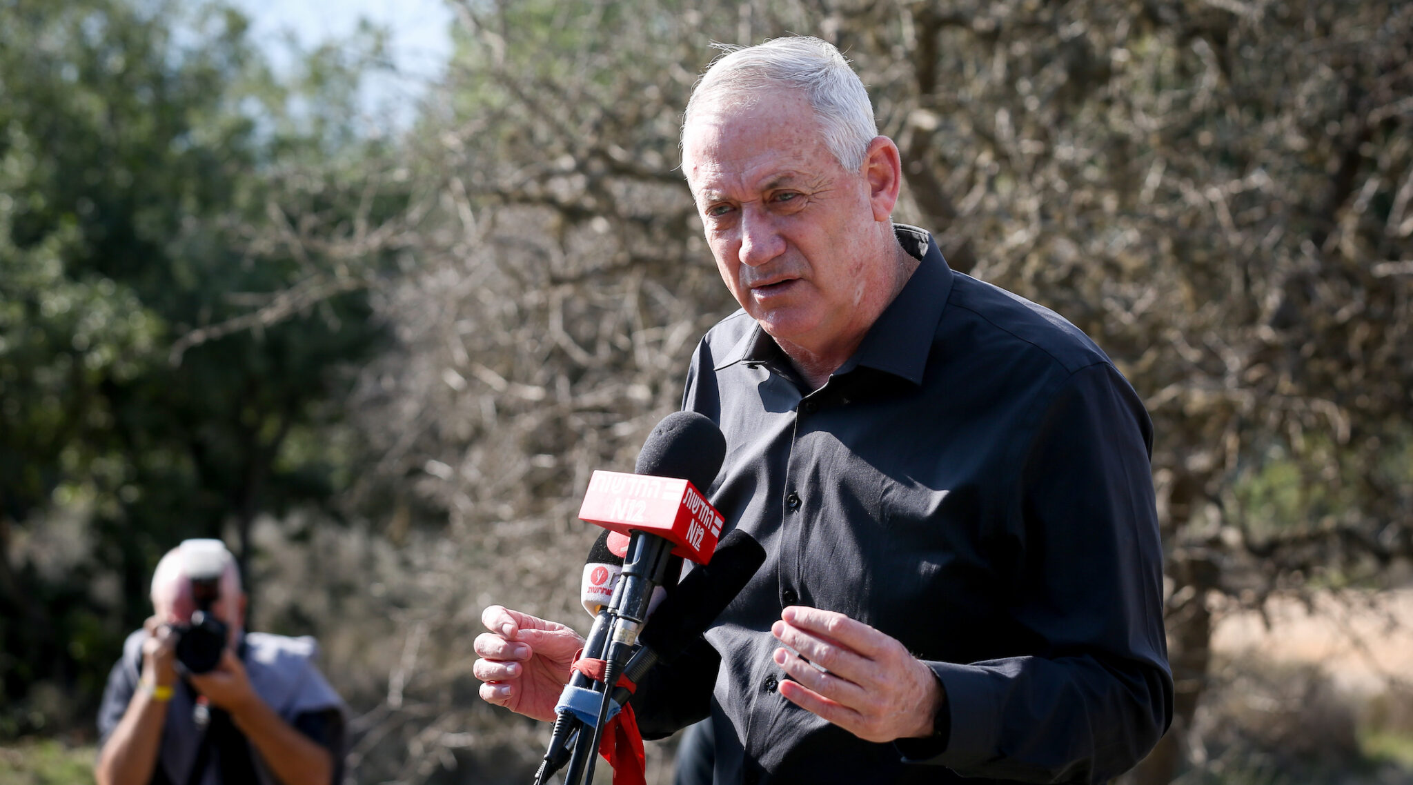 Israeli Defense Minister Benny Gantz speaks during a visit to the Israel-Lebanon border, Nov. 17, 2020. (Photo/JTA-David Cohen-Flash90)