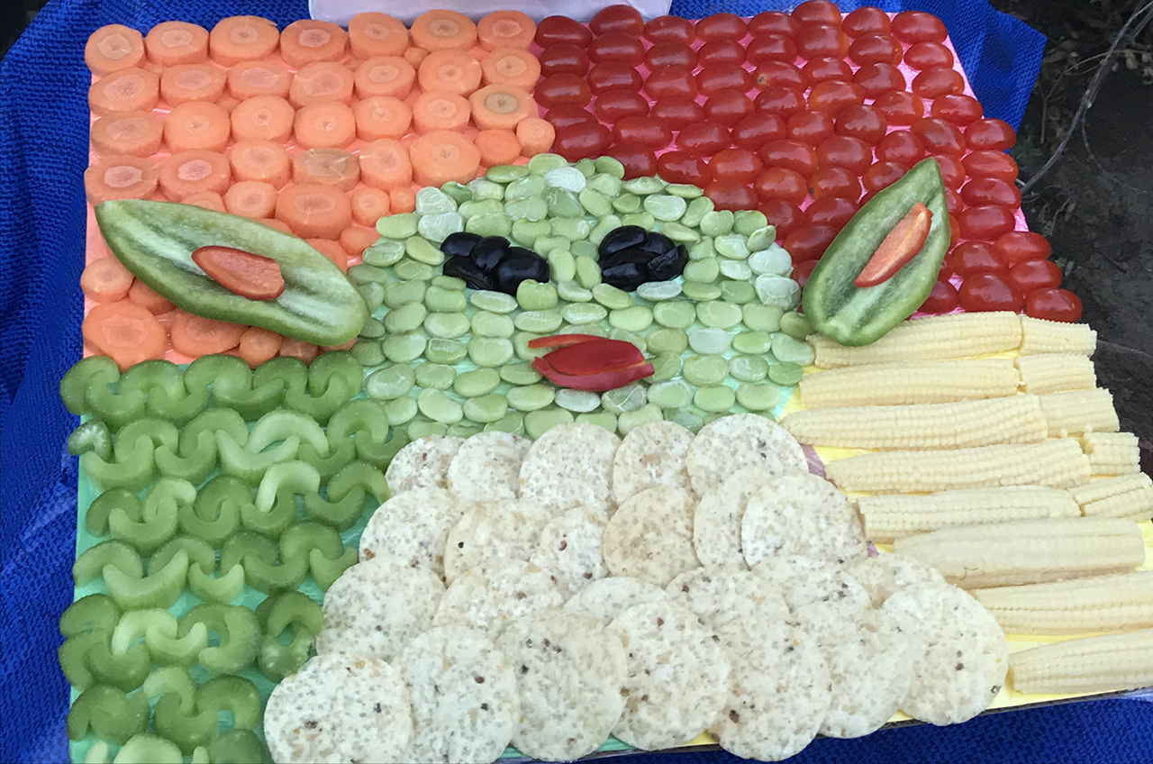 """Liam Lindenbaum's """"Mandalorian: The Child in Vegetables"""" was a hit in the South Peninsula Hebrew Day School's charcuterie competition."""