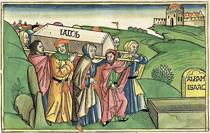 Jacob's sons carrying his body to Egypt, from the 1483 Nuremberg Bible.