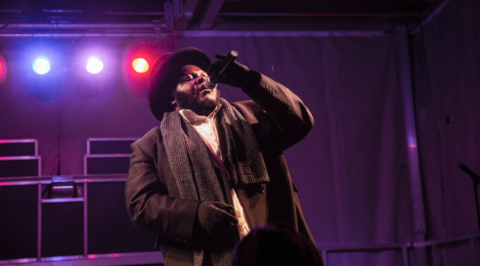 Jewish hip-hop singer Nissim Black performs during a Hanukkah festival in Pittsburgh in 2018. (Photo/JTA-Esther Wayne-SOPA Images-LightRocket via Getty Images)