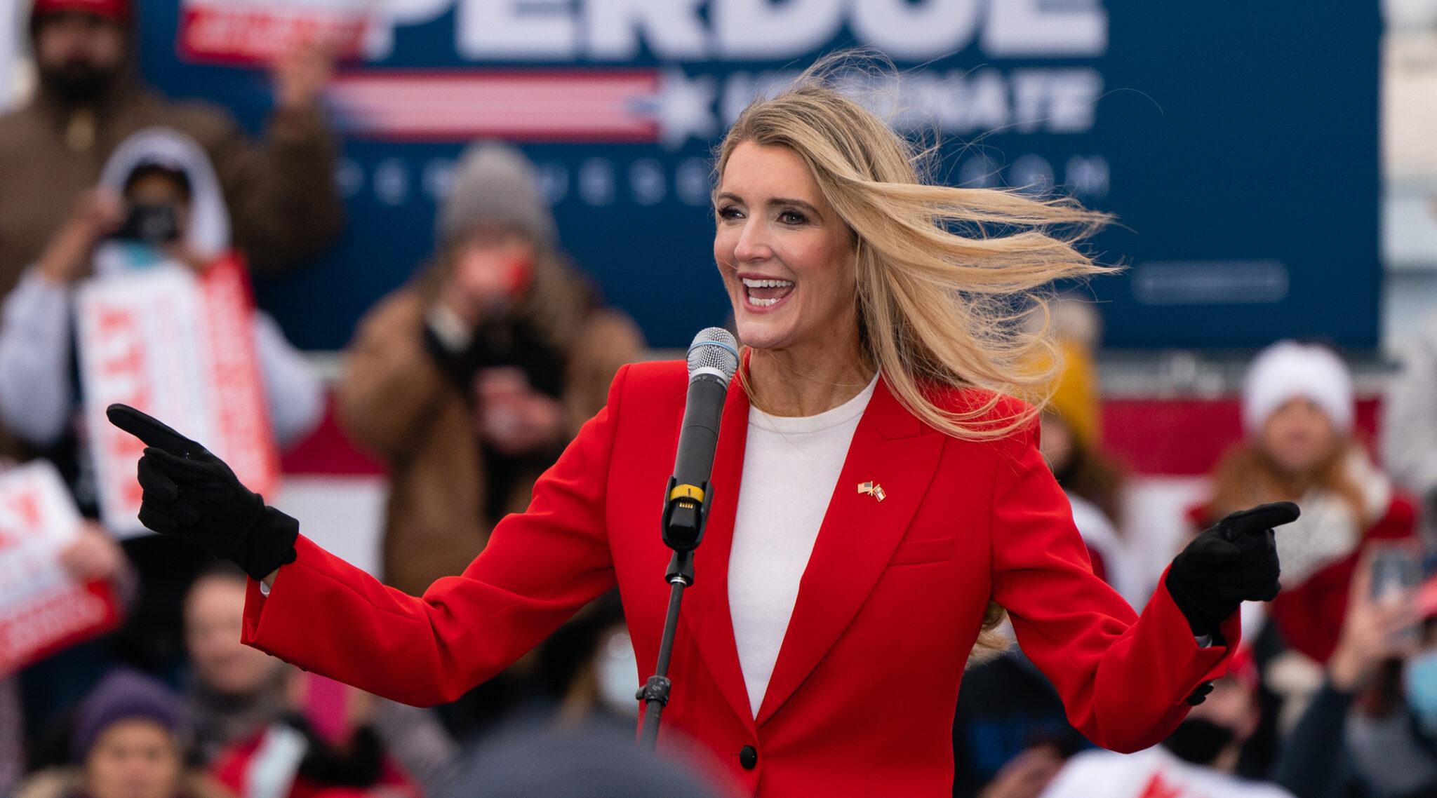 Sen. Kelly Loeffler speaks at a campaign event in Columbus, Georgia, Dec. 17, 2020. (Photo/JTA-Elijah Nouvelage-Getty Images)