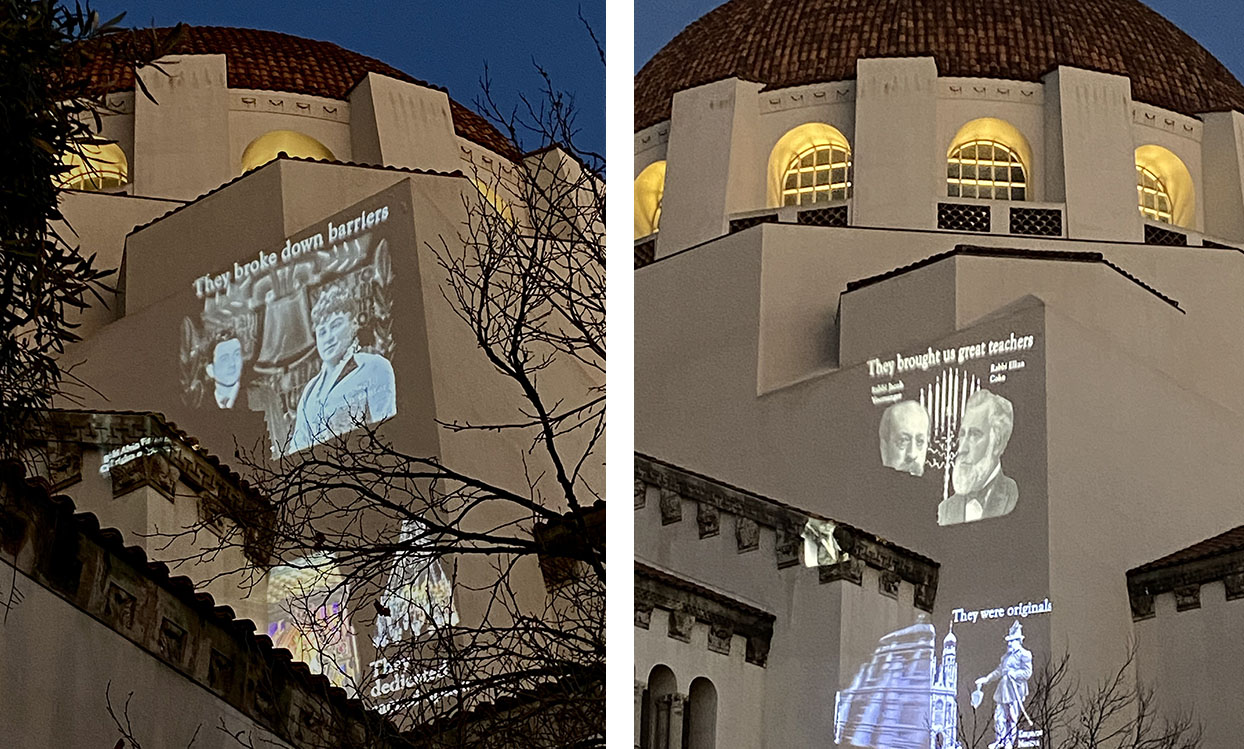 """Projecting Light in a Time of Darkness,"" a video art installation at Congregation Emanu-El in San Francisco, will be visible every night of Hanukkah. (Photos/Heidi Sanders)"