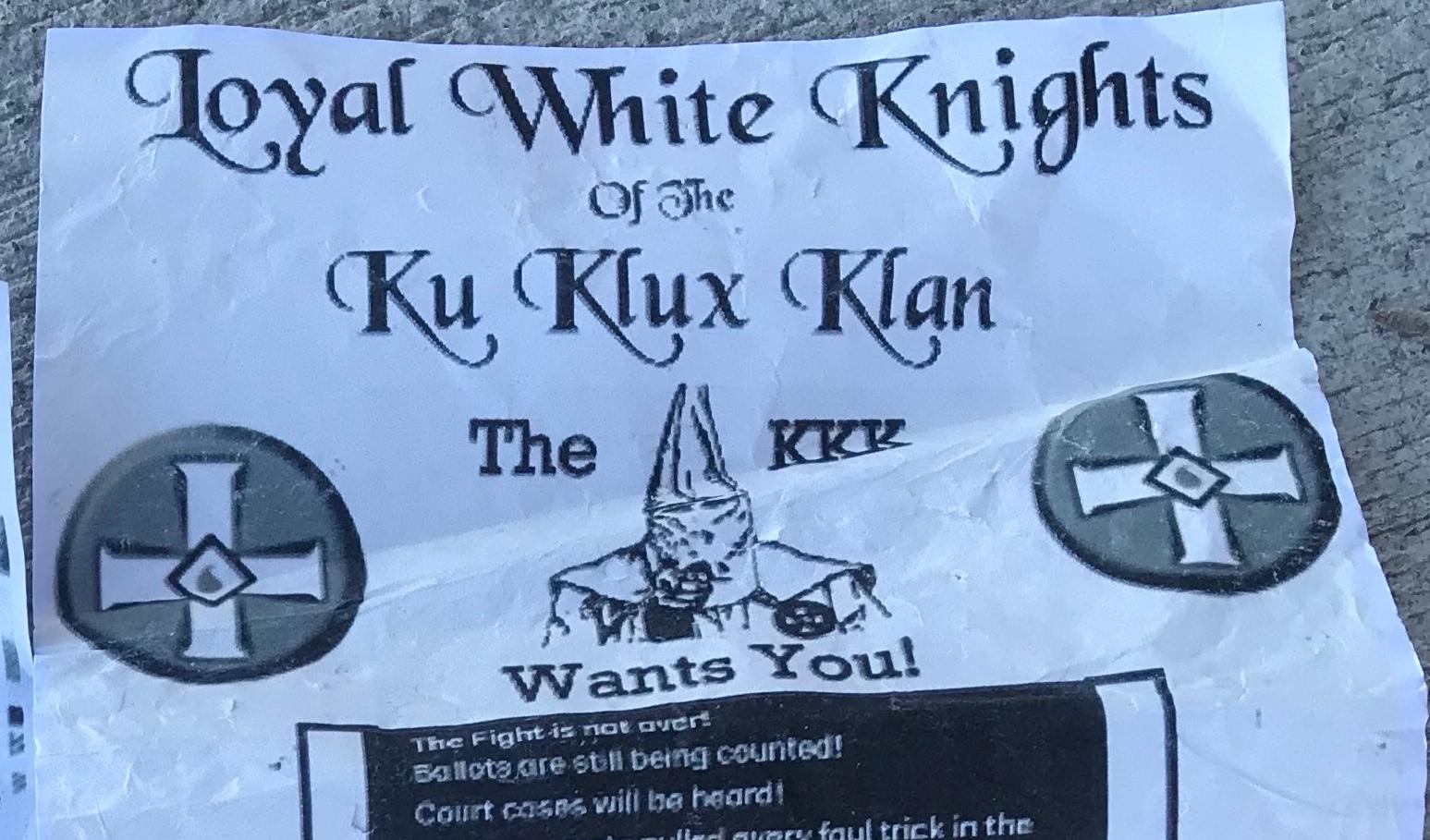 Ku Klux Klan flyer