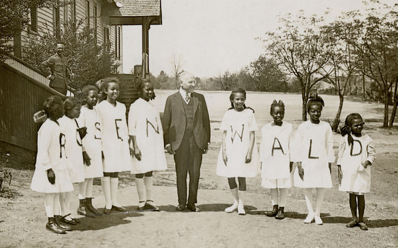 Julius Rosenwald with students from a Rosenwald School. (Photo/JTA-Courtesy of Fisk University, John Hope and Aurelia E. Franklin Library)