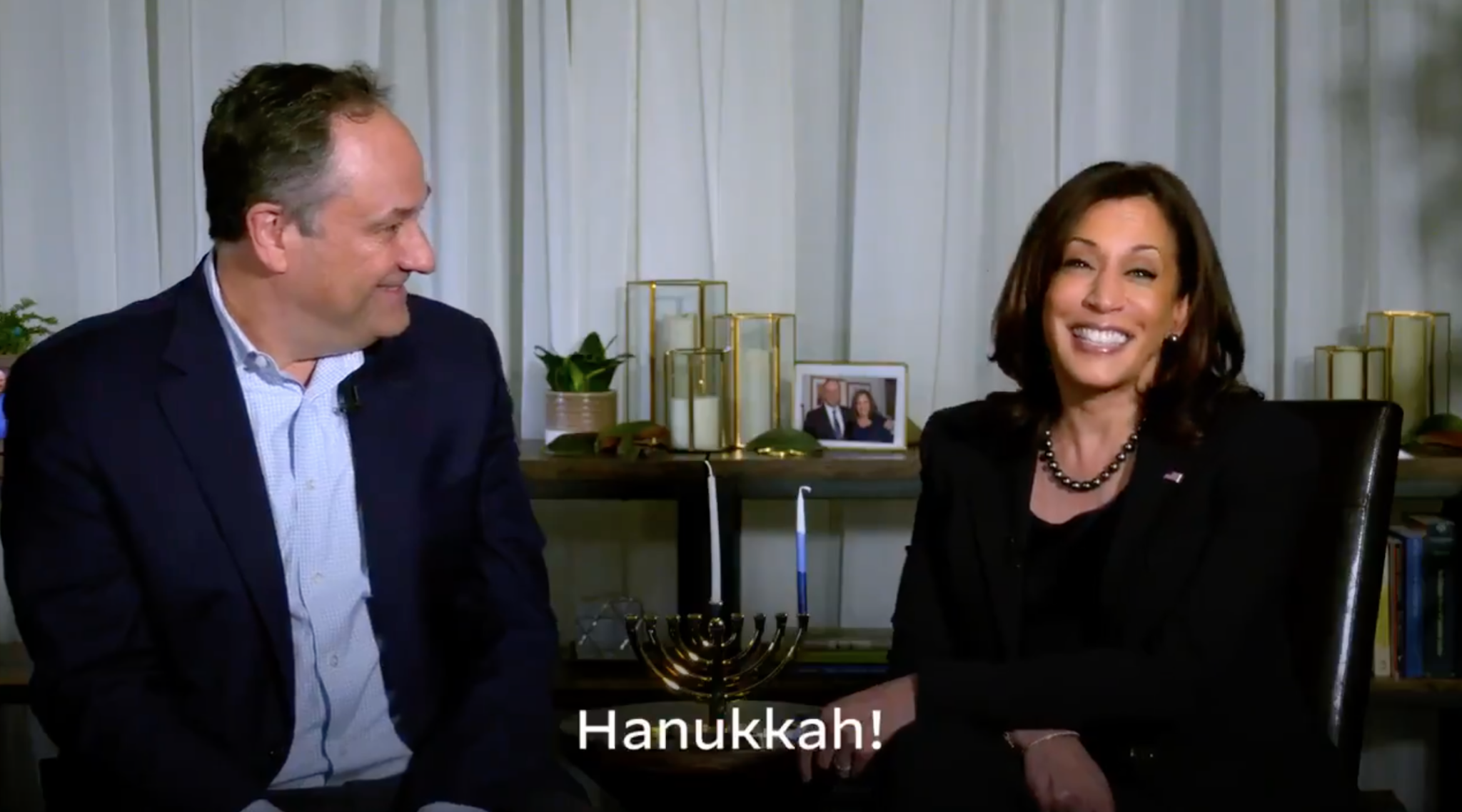 Vice President-elect Kamala Harris and husband Doug Emhoff send Hanukkah greetings in a video, Dec. 10, 2020. (Screenshot from Twitter)