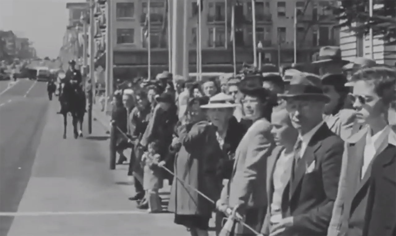 "A video played at AJC's ""Diplomacy at 75"" event included several clips of newsreel footage of San Francisco from the time of the founding of the U.N. (Screenshot from Facebook)"