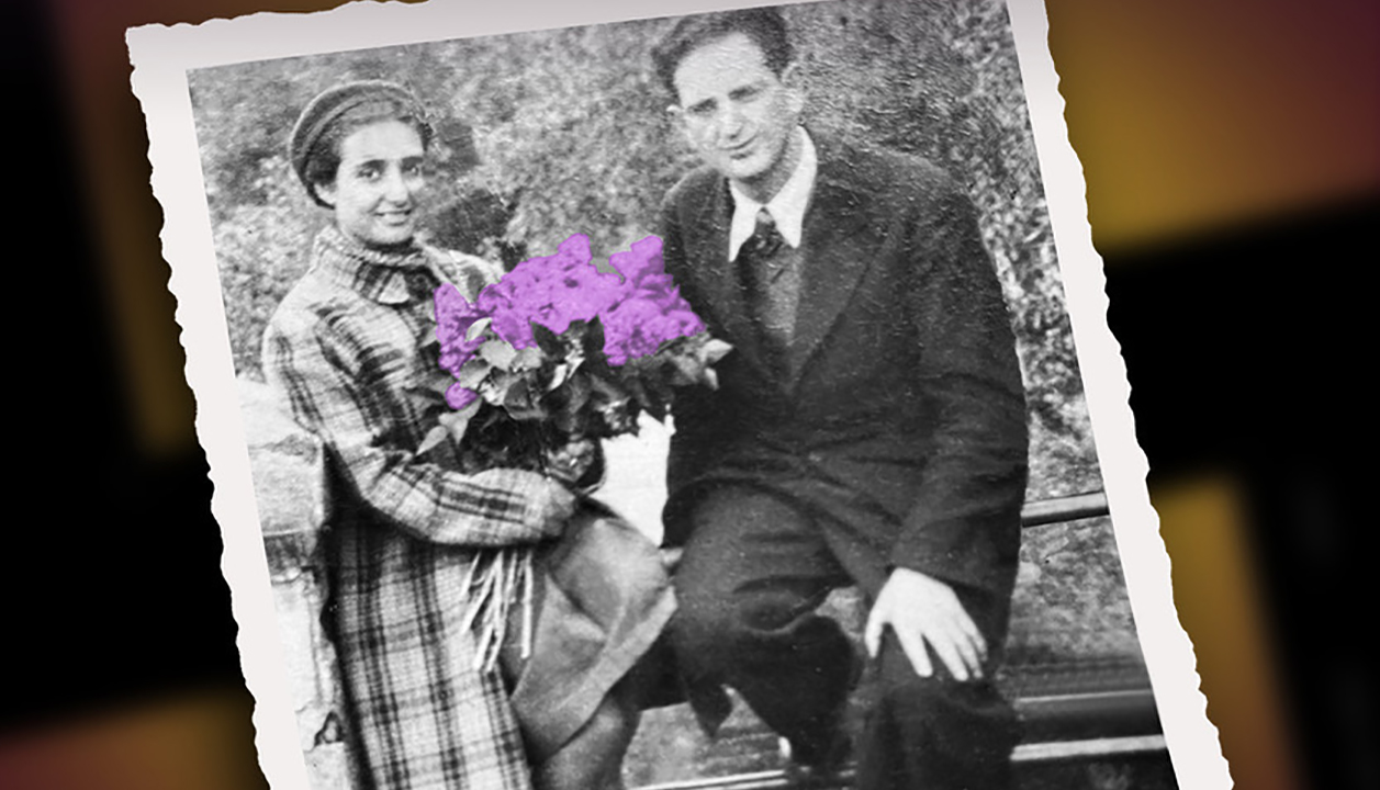 a black and white picture of a man and a woman sitting on a bench. she is holding flowers which have been artificially colored bright purple