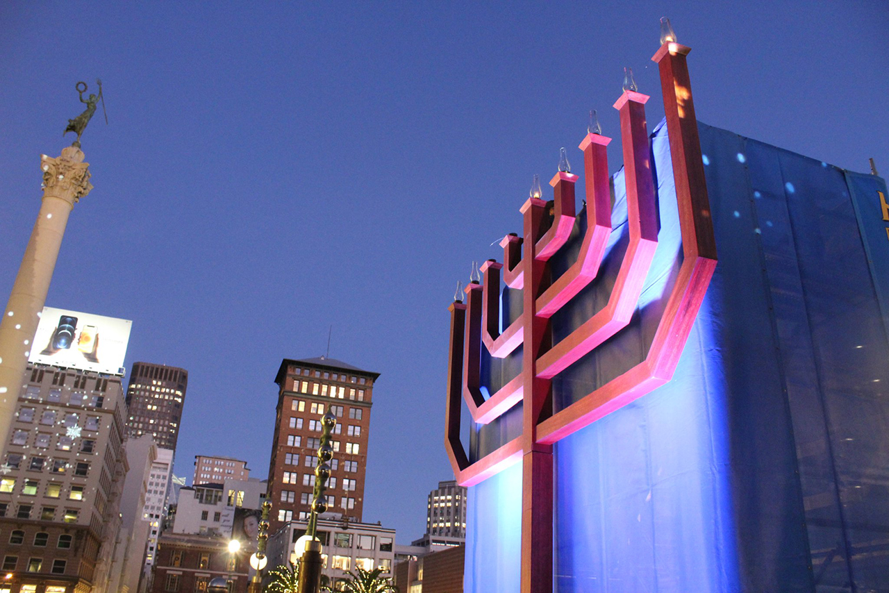 The giant menorah in Union Square in San Francisco on the first night of Hanukkah, Dec. 10, 2020. (Photo/Gabriel Greschler)