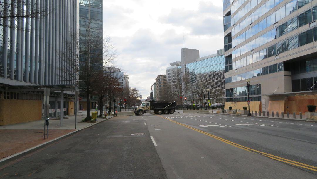 A roadblock at Pennsylvania Avenue and 19th Street on the day of Joe Biden's presidential inauguration in Washington, Jan. 20, 2021. (Photo/JTA-Ron Kampeas)