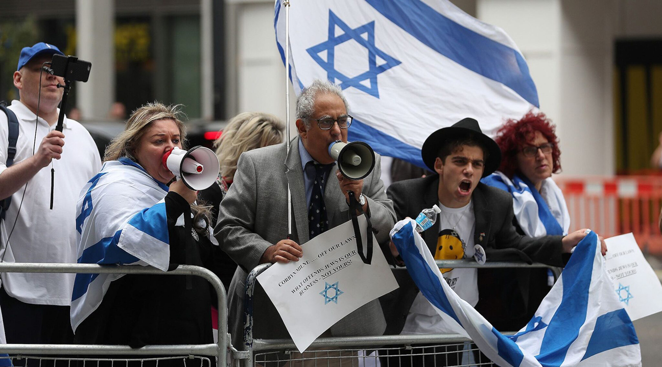 Demonstrators protest outside Labour headquarters in London after its leader, Jeremy Corbyn, refused to adopt fully the International Holocaust Remembrance Alliance definition of antisemitism in the party's code of conduct, Sept. 4, 2018. (Photo/JTA-Daniel Leal-Olivas-AFP via Getty Images)