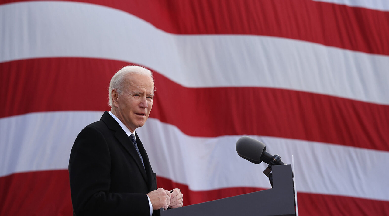 "President-elect Joe Biden delivers remarks at the Major Joseph R. ""Beau"" Biden III National Guard/Reserve Center in New Castle, Delaware, Jan. 19, 2021. (Photo/JTA-Chip Somodevilla-Getty Images)"