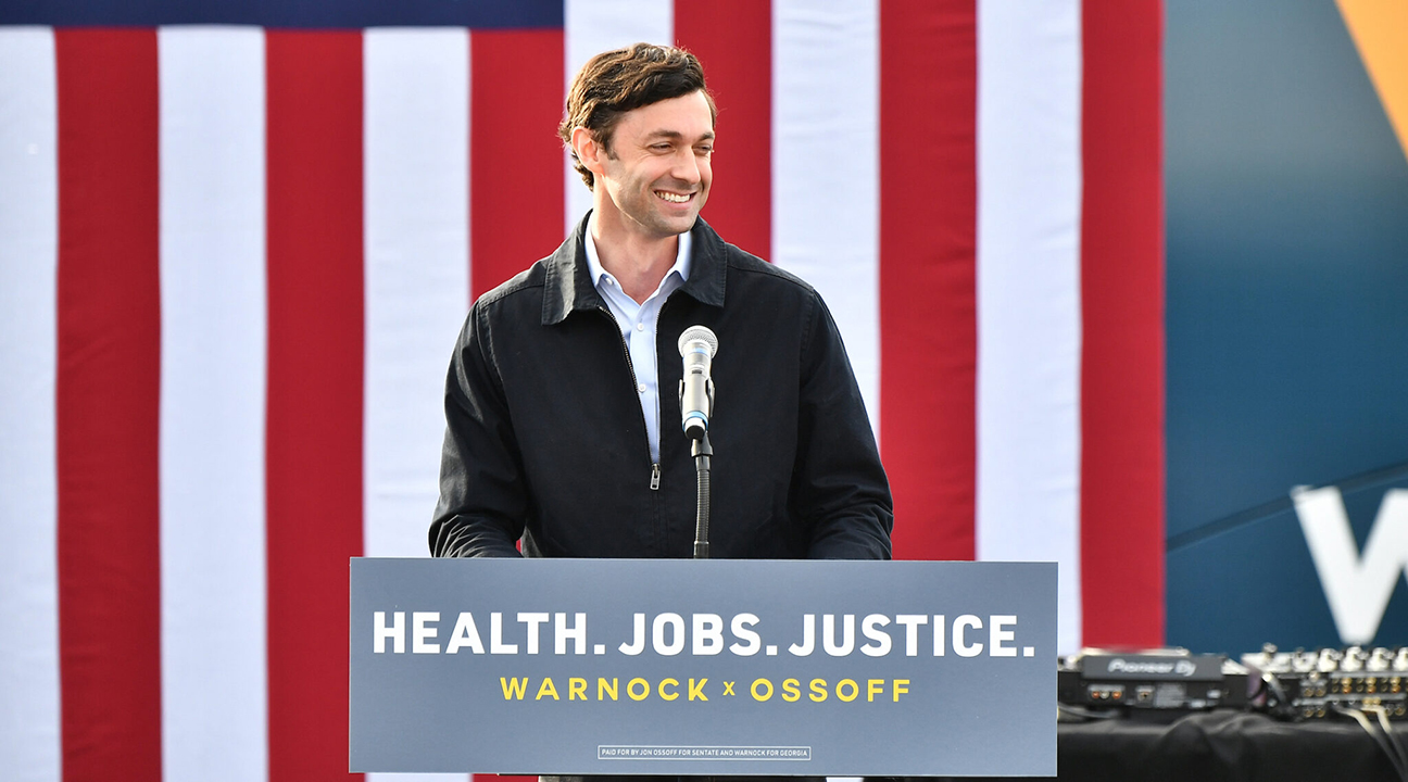 Jon Ossoff speaks in Stonecrest, Georgia, Dec. 28, 2020. (Photo/JTA-Paras Griffin-Getty Images)
