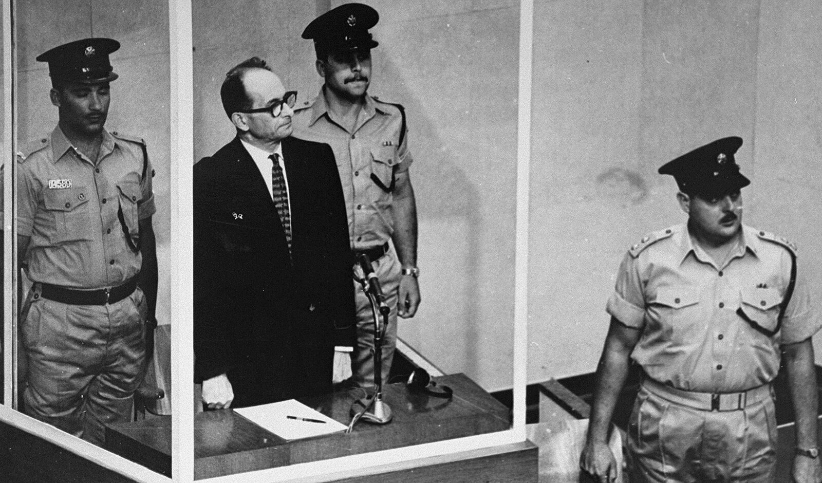 Adolf Eichmann at his 1961 trial for war crimes. (Photo/United States Holocaust Memorial Museum)