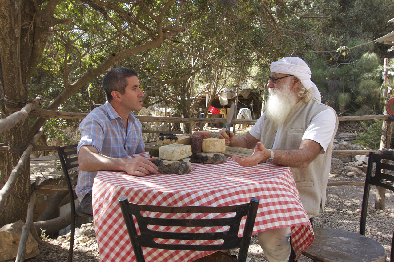 "Chef Michael Solomonov interviews people about their traditional foods in the 2017 documentary  ""In Search of Israeli Cuisine.""  (Photo/Menemsha Films)"