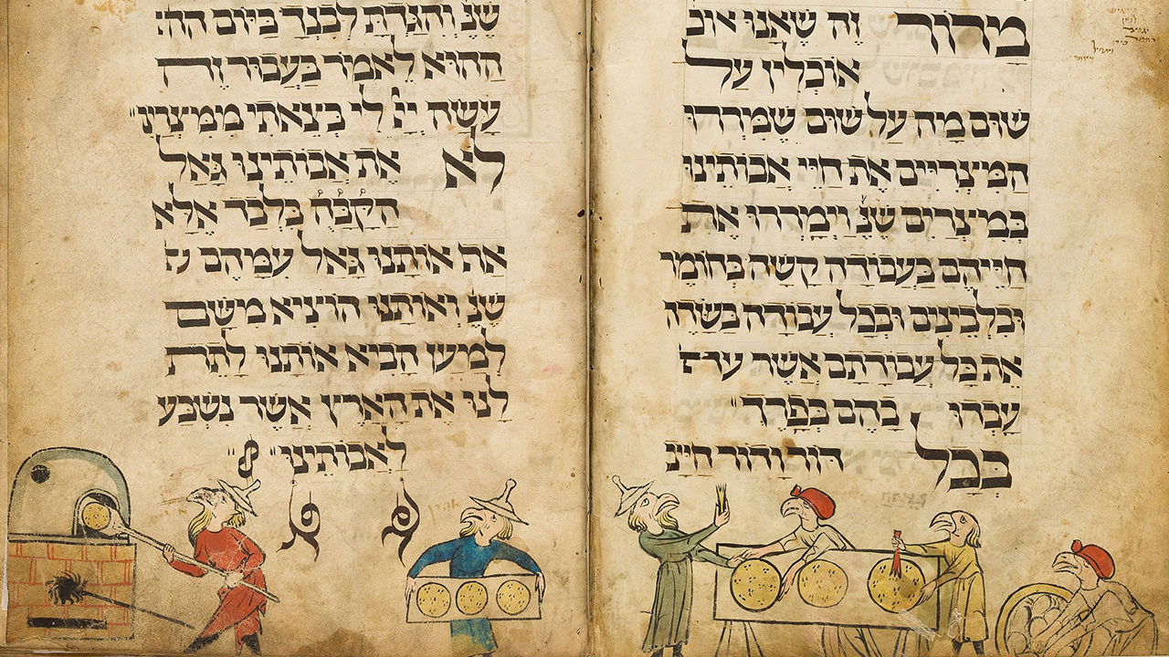 A page from the famed German Birds' Head Haggadah, ca. 1300.
