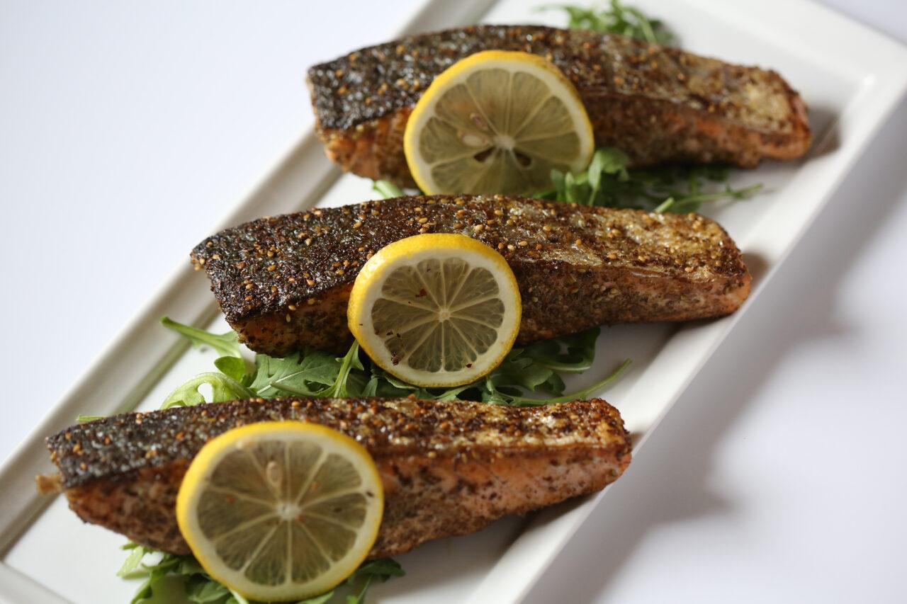 Za'atar salmon, one of many Neshama Foods offerings.