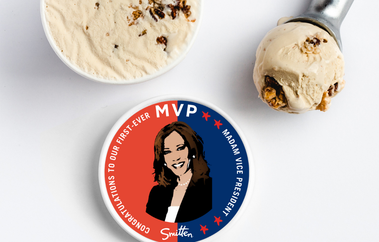 "Smitten's new ""MVP"" ice cream is a celebration of Vice President Kamala Harris. (Photo/Courtesy Smitten)"
