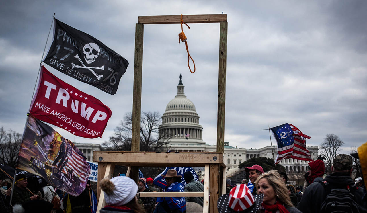Trump supporters near the U.S. Capitol, Jan. 6, 2021. Some stormed the building, breaking windows and clashing with police. (Photo/JTA-Shay Horse-NurPhoto via Getty Images)